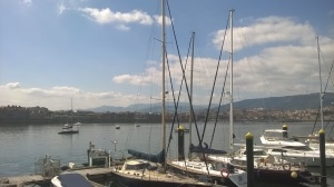 Friendship (in background) anchored just outside Gexto marina Bilbao