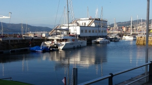 Vigo, Club Nautico Marina....right in the city centre. This huge Lagoon Cat made us look tiny.