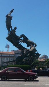 Amazing sculpture on roundabout in Vigo